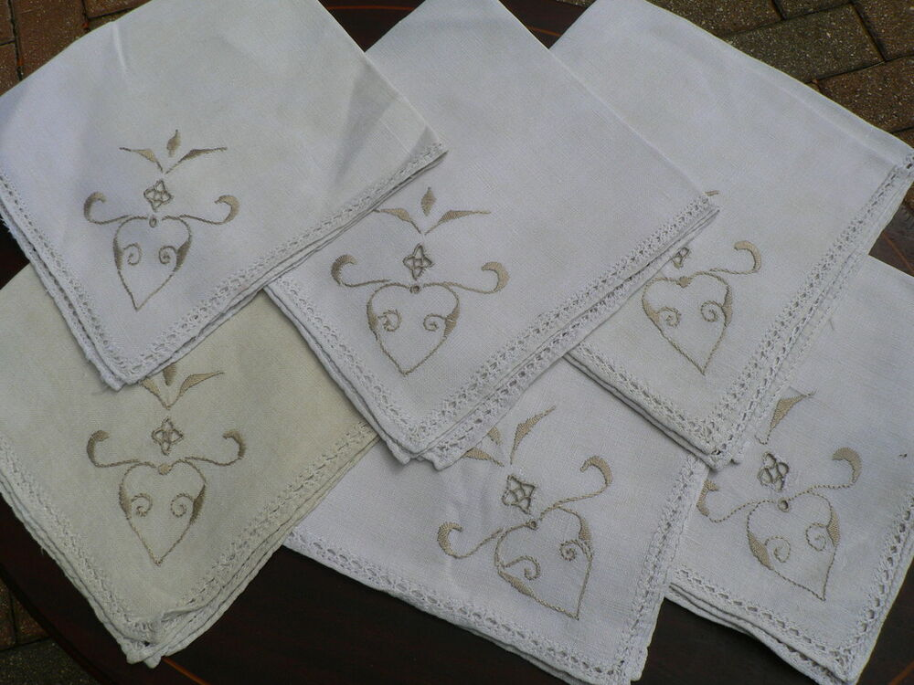 Vintage Embroidered Linen Tablecloth 6 Napkins Cutout Ebay