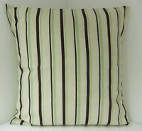 TRENDY SAGE GREEN BROWN OATMEAL STRIPED CUSHION COVERS