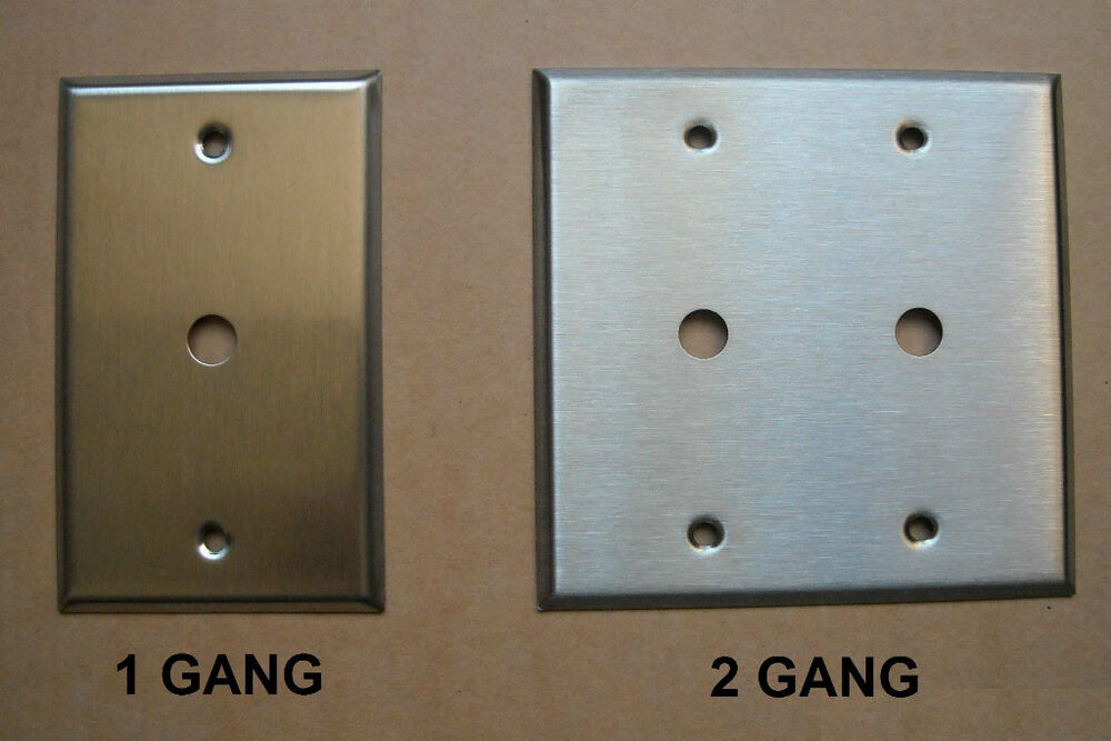 Tv Cable Jack Stainless Steel Wall Cover Plate 1 2 Gang Ebay