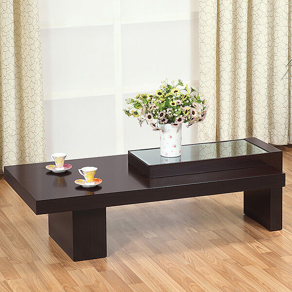 Contemporary Coffee Table Glass Top: Creek Modern Glass Top Coffee Table