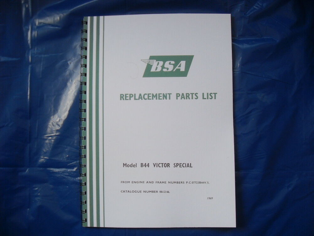Bsa B44vs 441 Victor Special Parts Book For 1969 Model