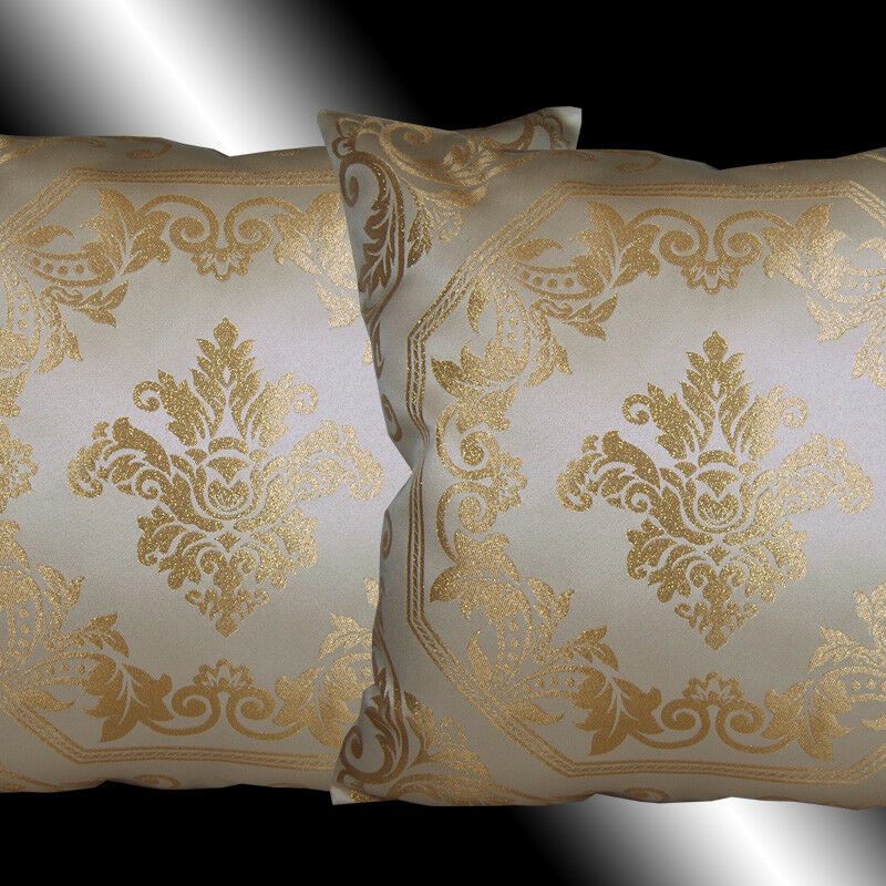 2 BEIGE GOLD DAMASK CUSHION COVER THROW PILLOW CASES 17 eBay
