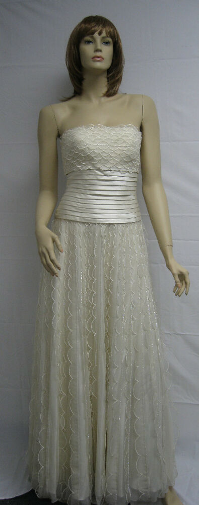 Sue Wong Cream Ivory Evening Dress Gown Long Wedding 2