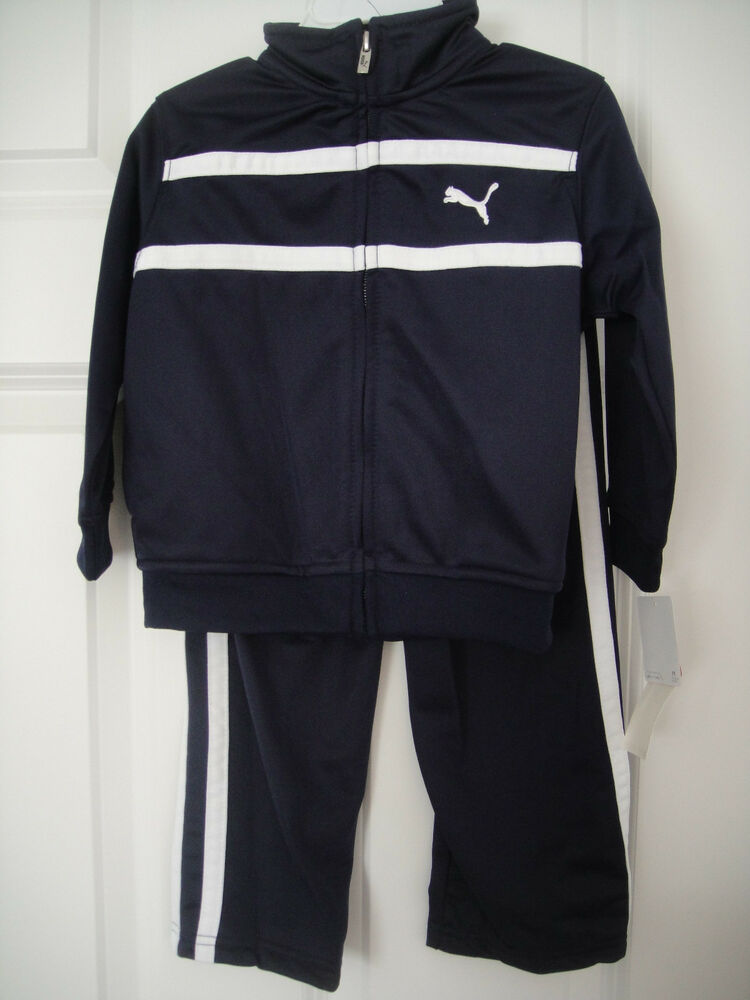 Puma Nwt Boys 2pc Track Suit Jacket Pants Top Warm Up Navy