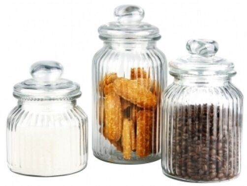 glass kitchen canisters new 3 piece glass kitchen canister set storage display ebay