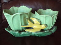 Vintage McCoy Green Tulip Double Planter w/ Bird