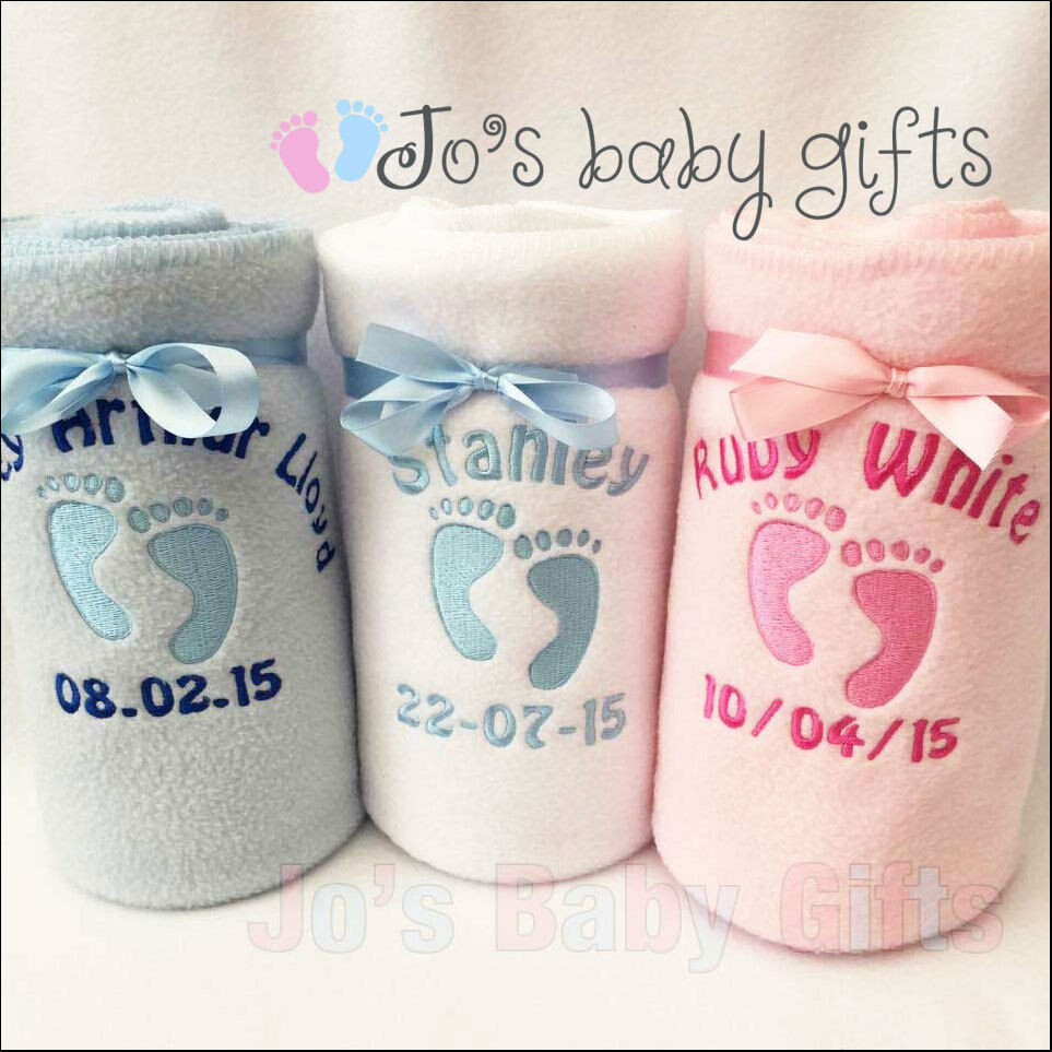 Personalised baby blanket embroidered footprintsbabys details boys personalised baby blanket embroidered footprintsbabys details boys girls gift ebay negle Choice Image