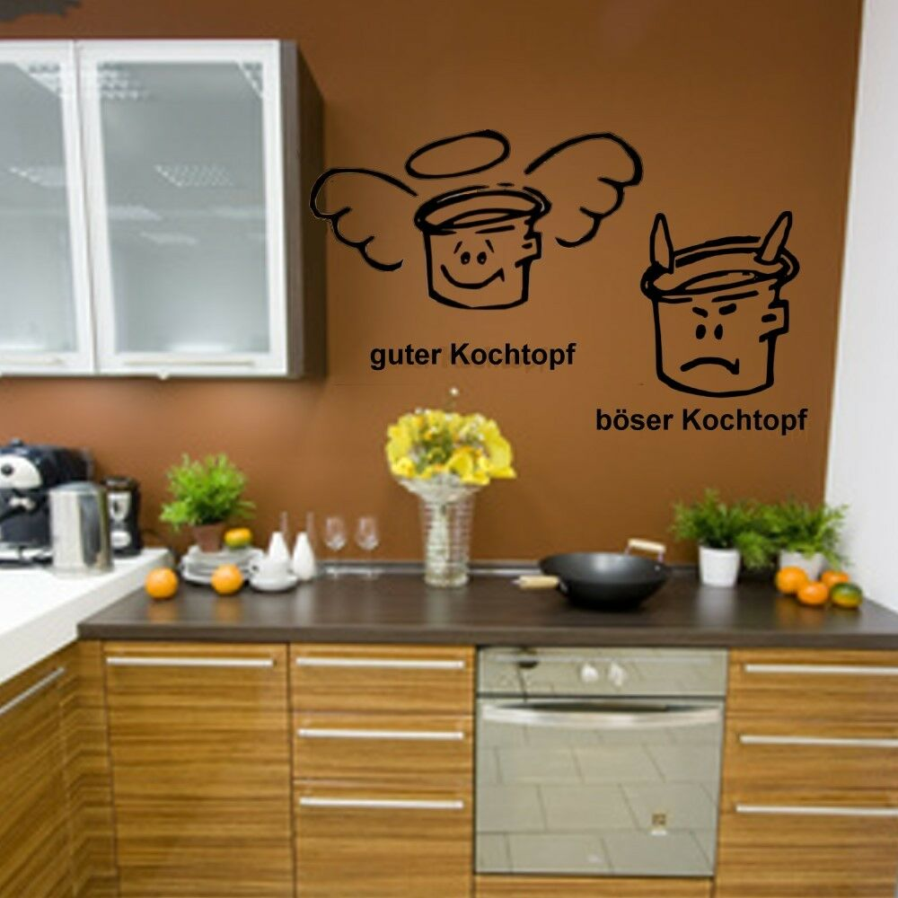 guter kochtopf b ser kochtopf wandtattoo k che wanddeko spr che wandsticker ebay. Black Bedroom Furniture Sets. Home Design Ideas