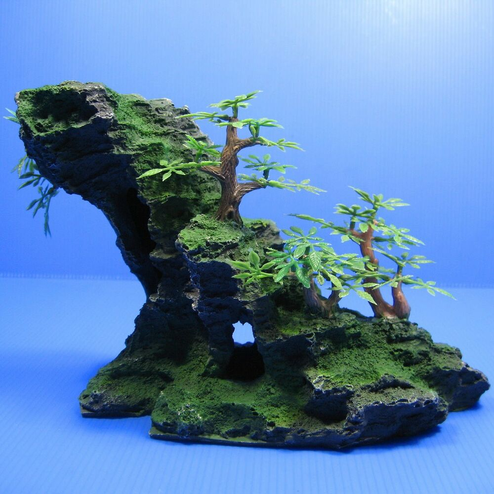 Mountain aquarium ornament tree 8 6 rock cave stone hide for Aquarium cave decoration