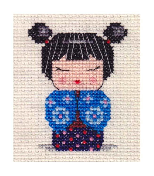 Kokeshi Doll Knitting Pattern : JAPANESE KOKESHI DOLL ~ Full counted cross stitch kit ~ everything included ...