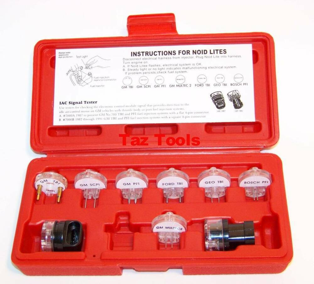 9 Pc Electronic Fuel Injection And Signal Noid Lite Tester Light Test Set