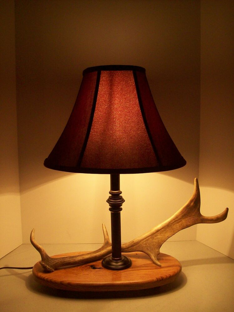 deer elk moose antler shed horn rustic table lamp light red shade