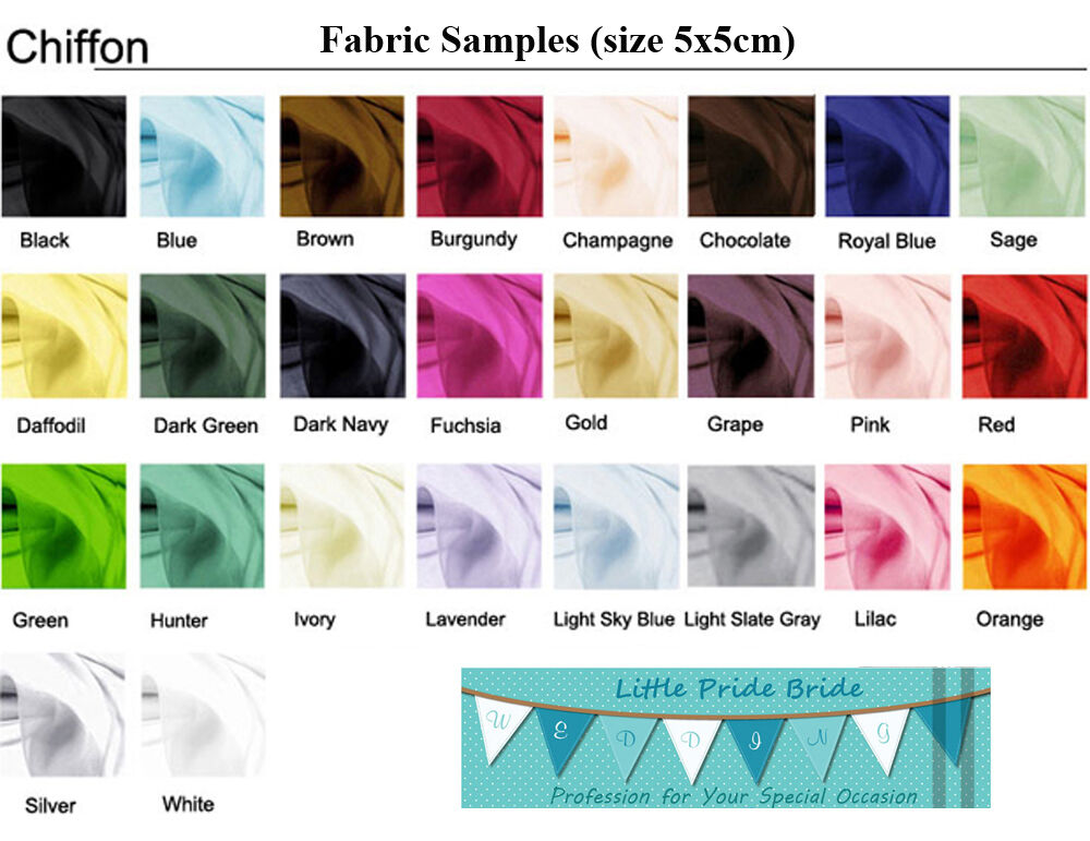Chiffon color swatch fabric samples for bridesmaid party for Wedding dress fabric samples