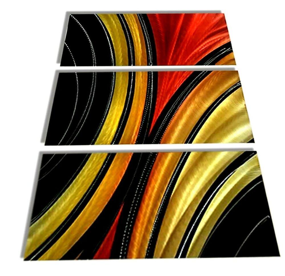 Modern Abstract Aluminum Metal Wall Art Painting Red Gold Black ...