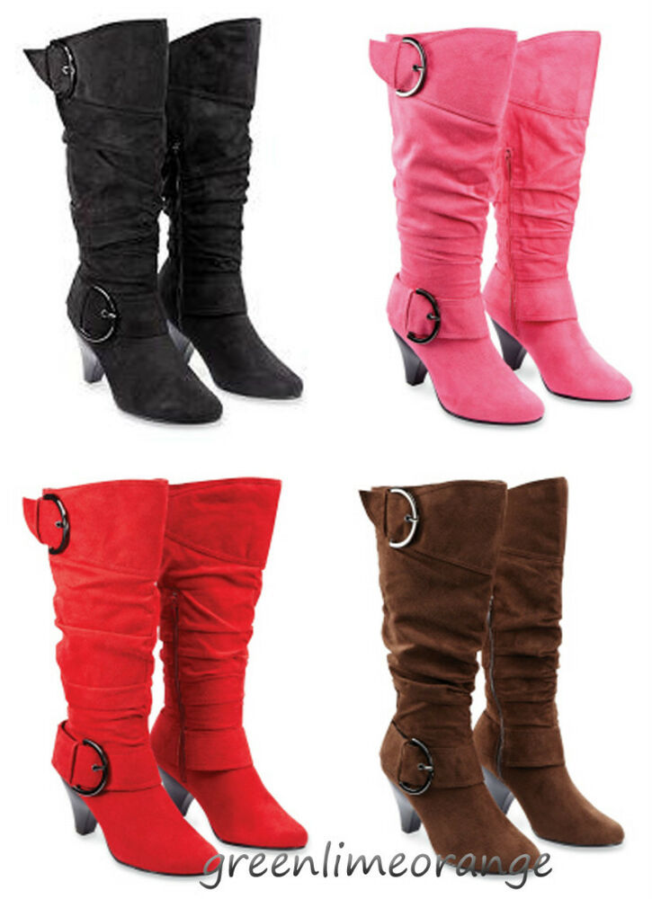 s buckle straps slouch suede fashion boots ebay