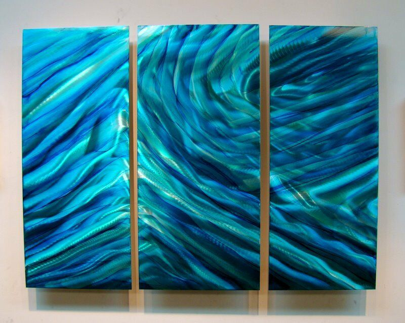3 Piece Set Of Metal Panel Wall Art Vibrant Blue & Teal