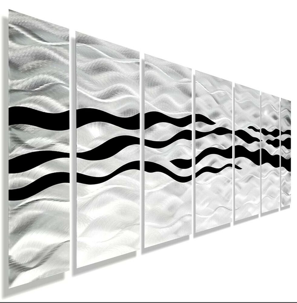 Wall Decor For Black Wall : Modern abstract black silver contemporary metal wall art