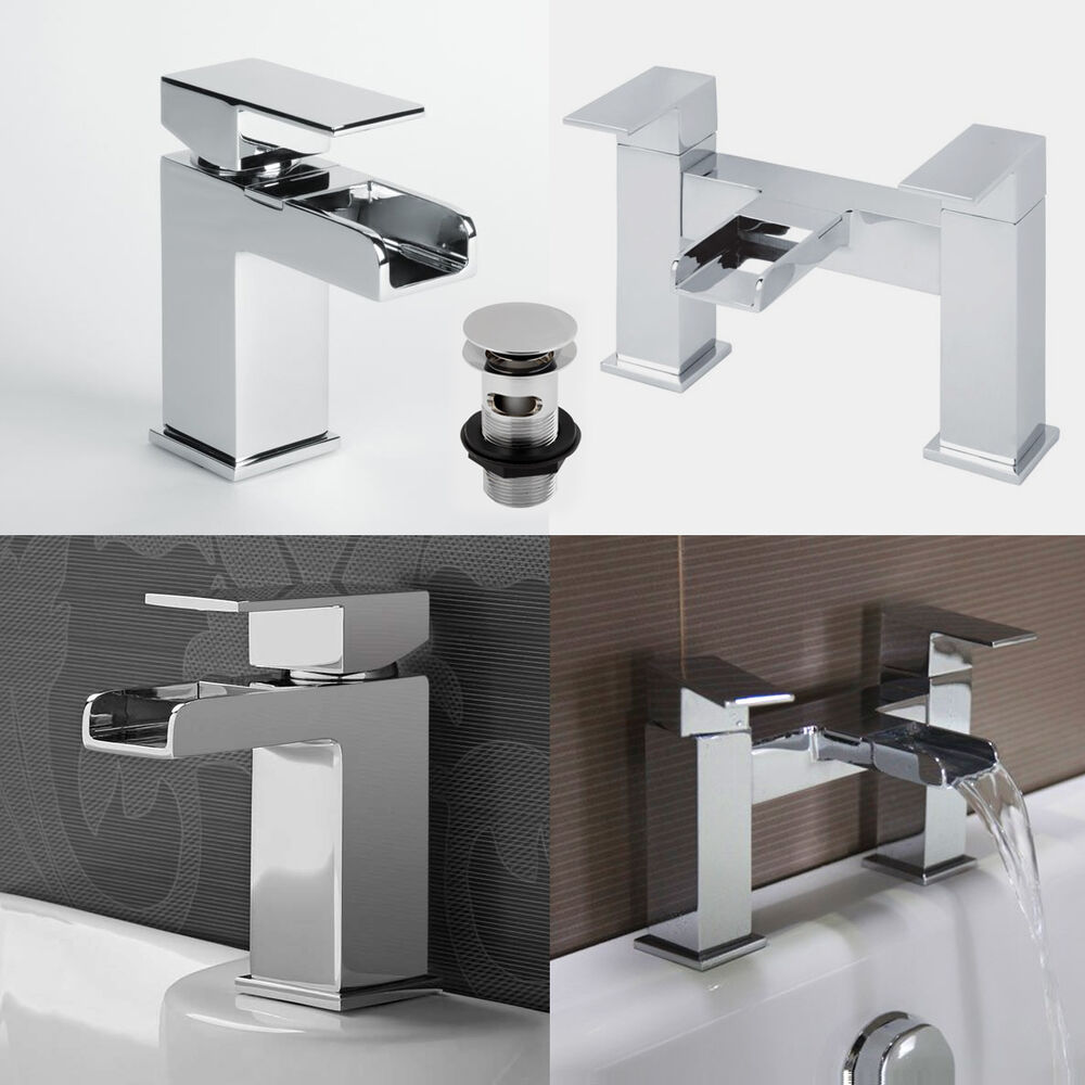 tap bathroom waterfall mixer basin bath filler taps chrome 16631