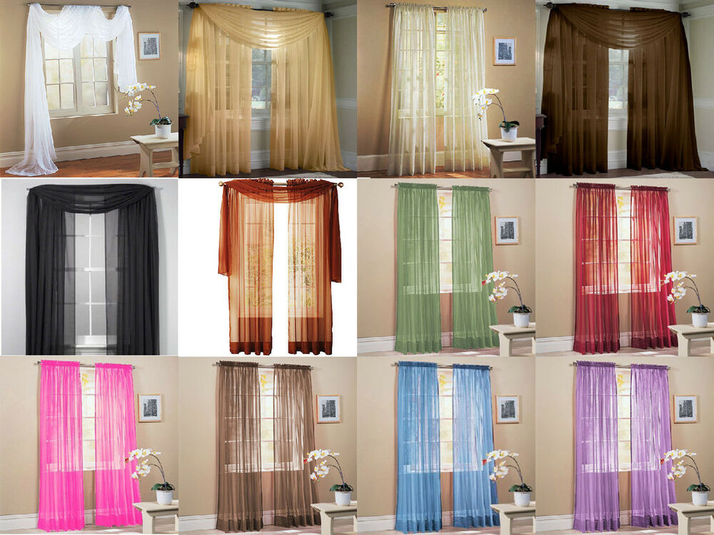Sheer Voile Window Curtains Drape Panel Treatment Or Scarf