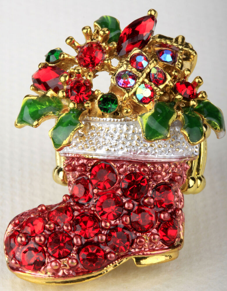 Santa boot stretch ring christmas holiday jewelry gifts for Decoration jewels mhw