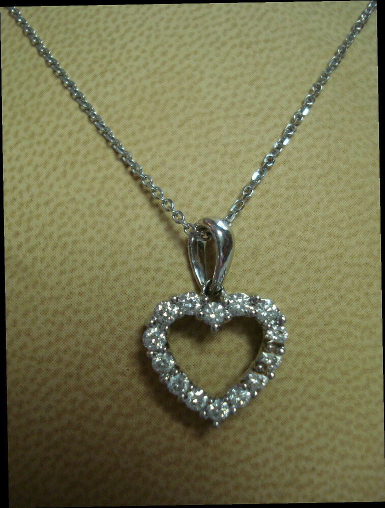 18K White Gold cable link chain necklace with a Diamond ...