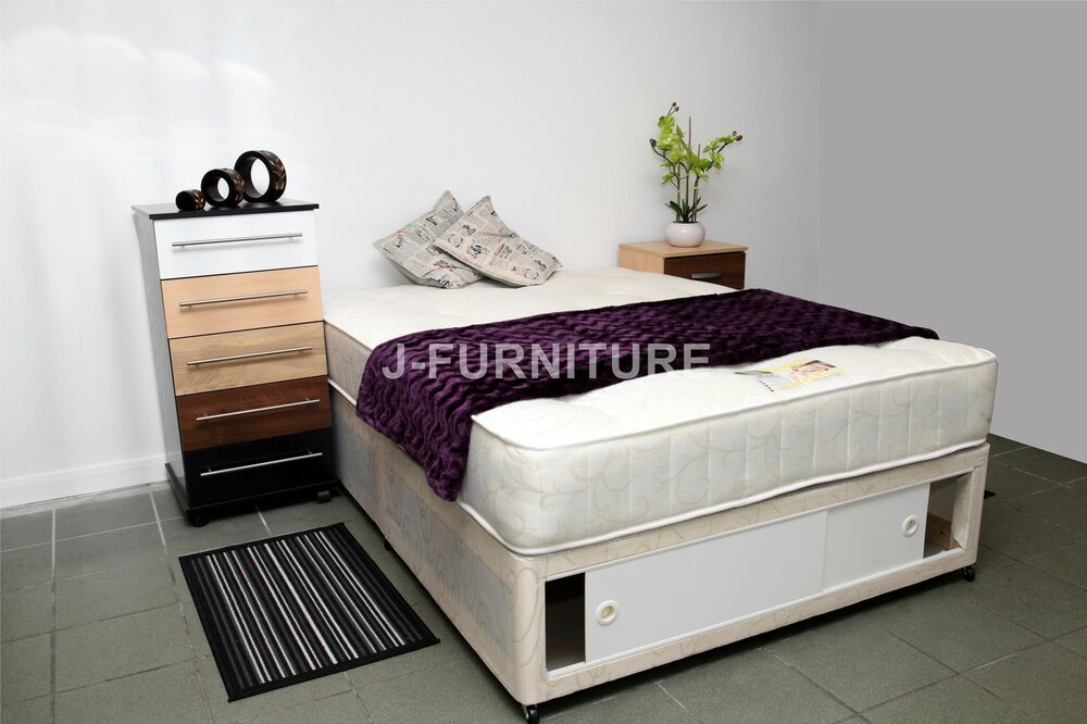 4ft6 Double Divan Bed And 10 39 Orthopaedic Mattress With Sliding Doors Storage Ebay