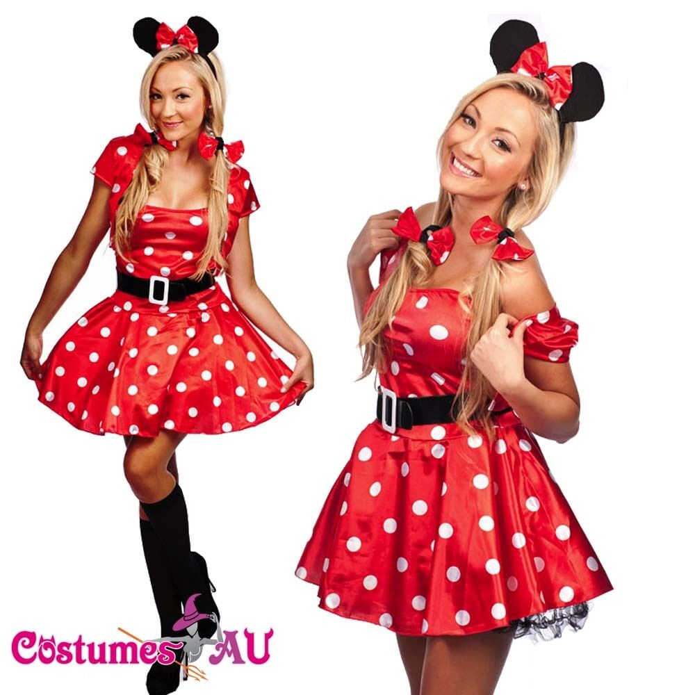 Ladies Minnie Mickey Mini Mouse Costume Fancy Dress