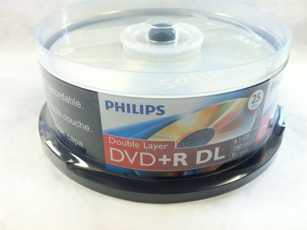 25 philips logo blank dvd r dvdr dual double layer dl disc. Black Bedroom Furniture Sets. Home Design Ideas