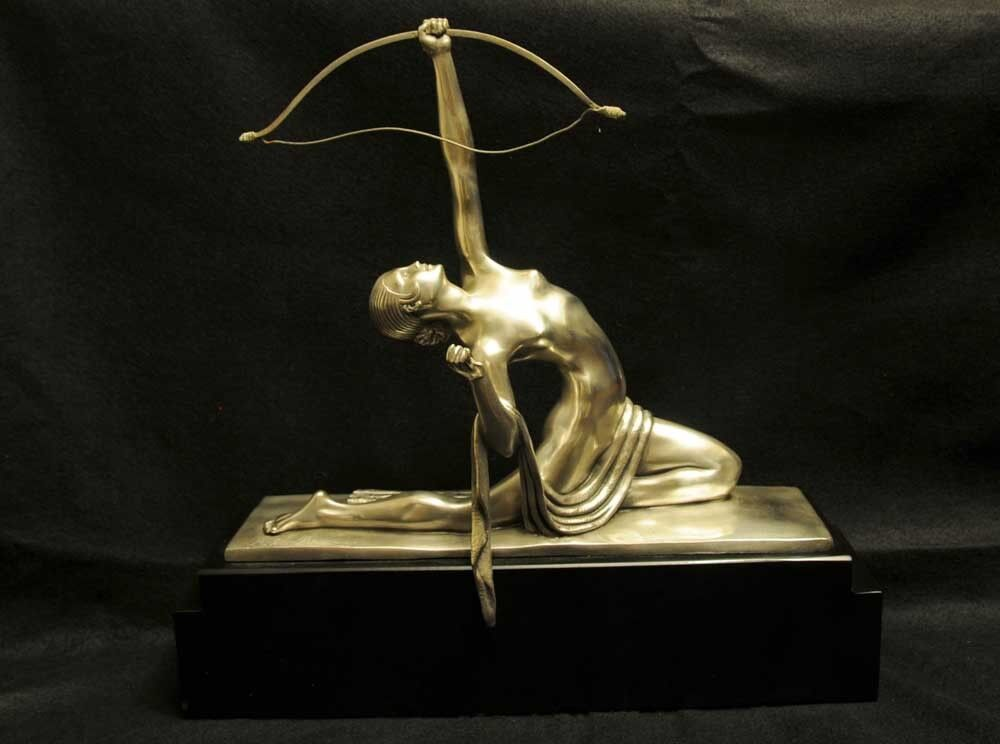french art deco bronze diana archer statue bourraine ebay. Black Bedroom Furniture Sets. Home Design Ideas