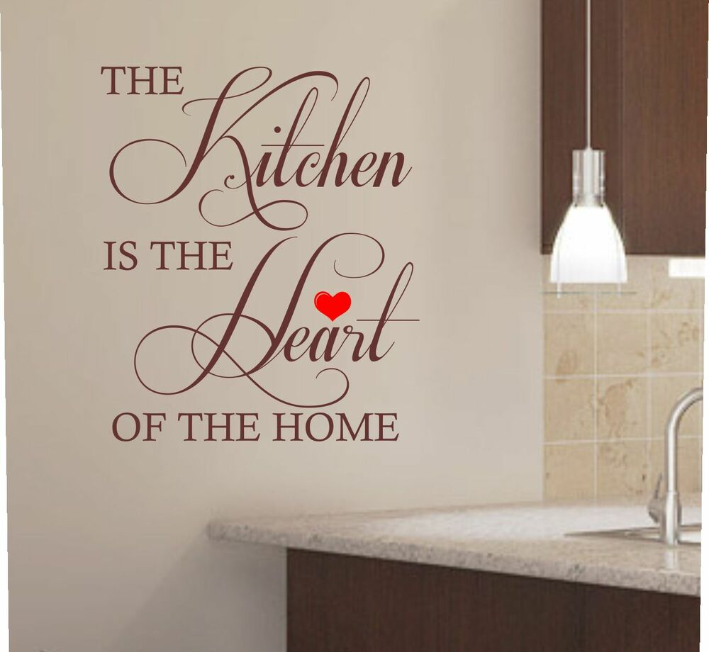 the kitchen is the heart of the home kitchen wall art sticker decal graphic k1 ebay. Black Bedroom Furniture Sets. Home Design Ideas
