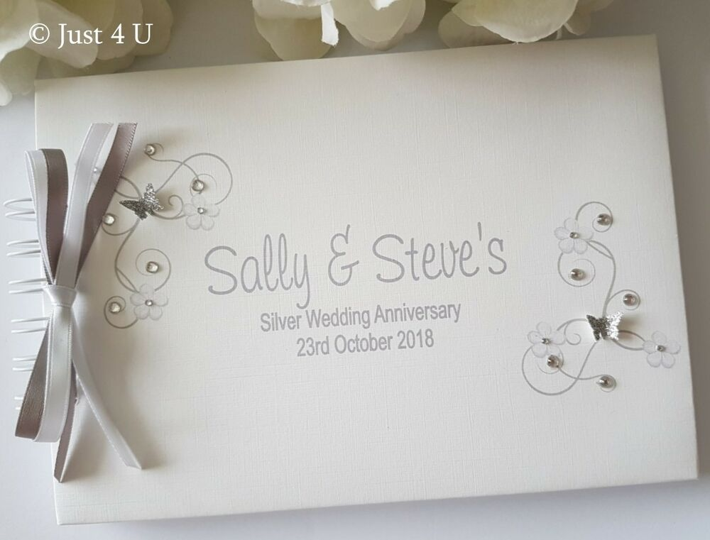 personalised silver  golden  ruby or diamond wedding anniversary guest book