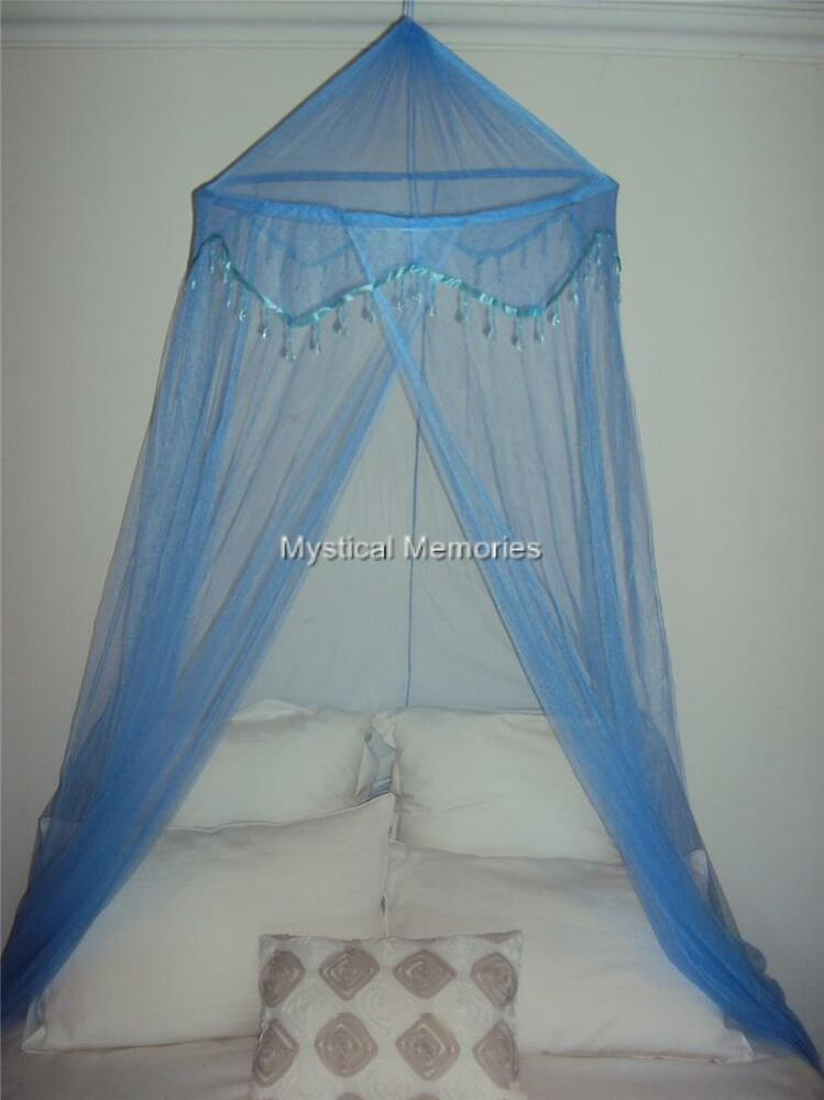 Baby blue beaded mosquito net bed canopy fits cot sgle for Canopy over bed