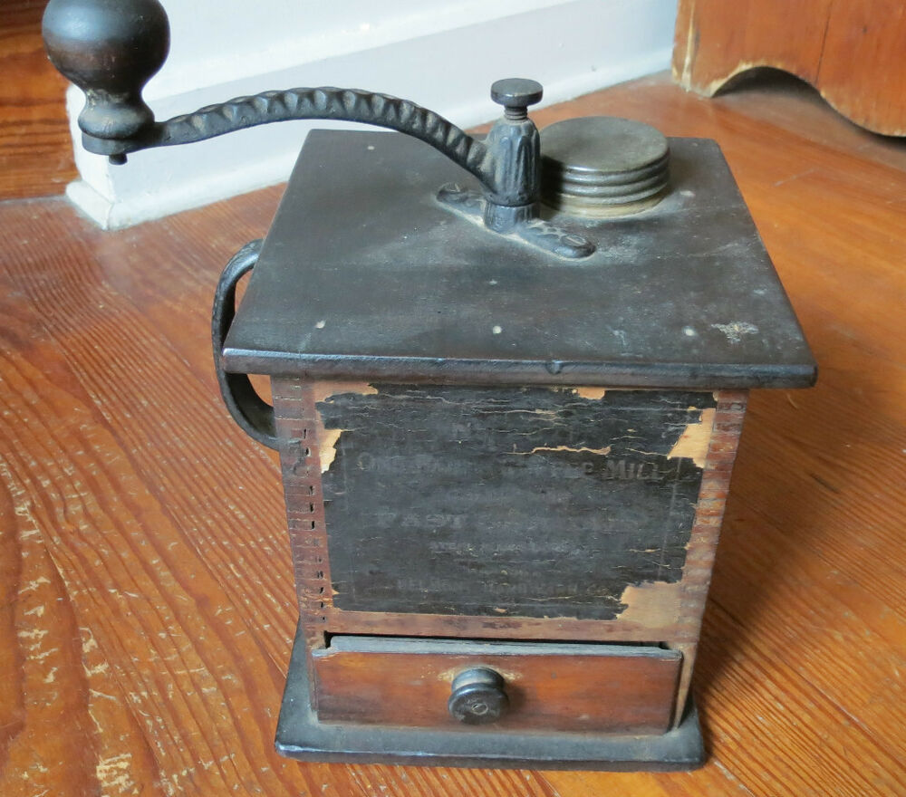 Antique Wooden Lap Mill Fast Coffee Grinder Belmont ...  |Coffee Grinders Antique Label