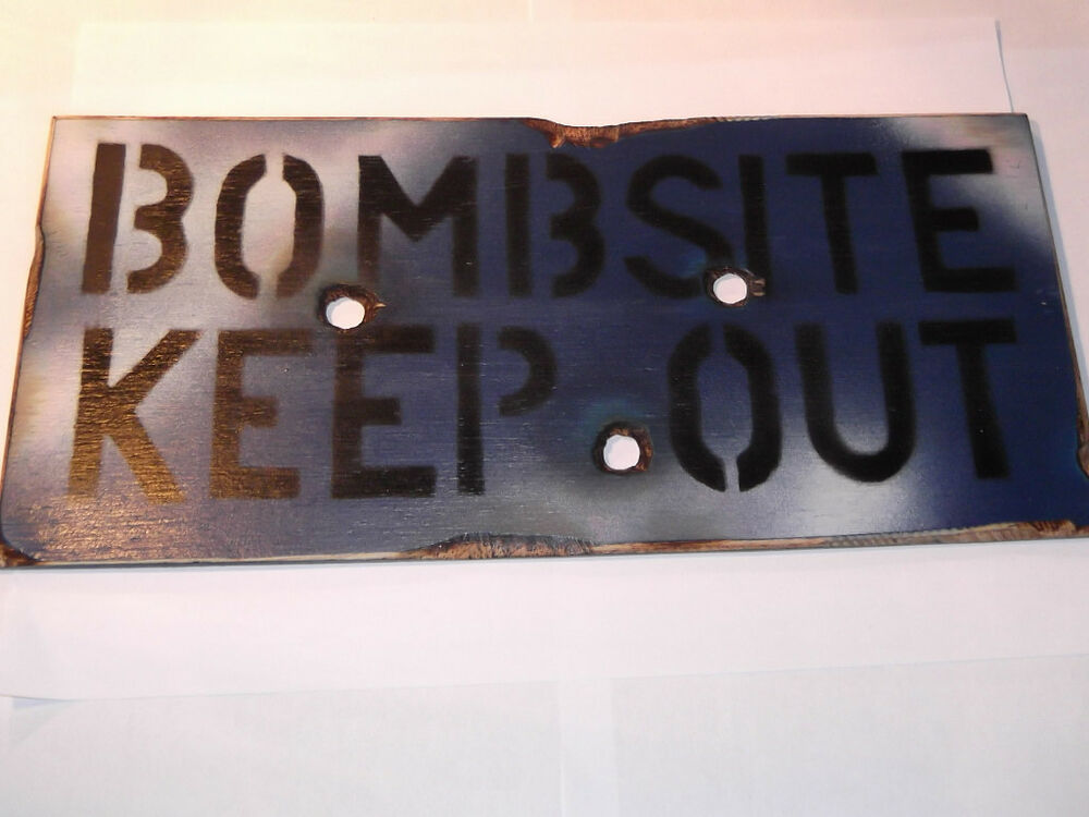 Blue Bombsite Keep Out Wooden Wall Door Plaque Sign For