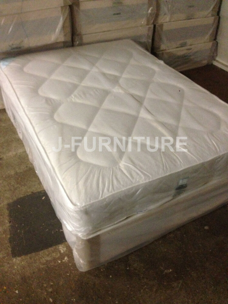 New double divan bed divan base split in two and deep quilt mattress included ebay Divan double bed with mattress
