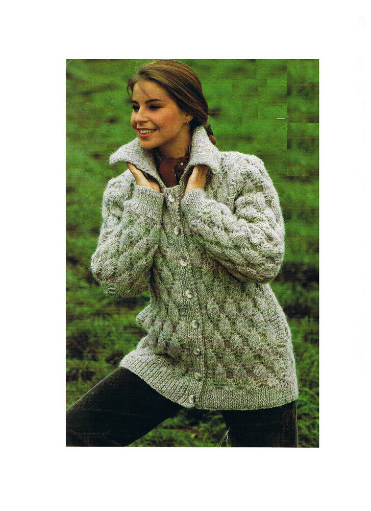 Ladies Knitting Pattern Ladies Chunky Jacket/Cardigan/Coat ...