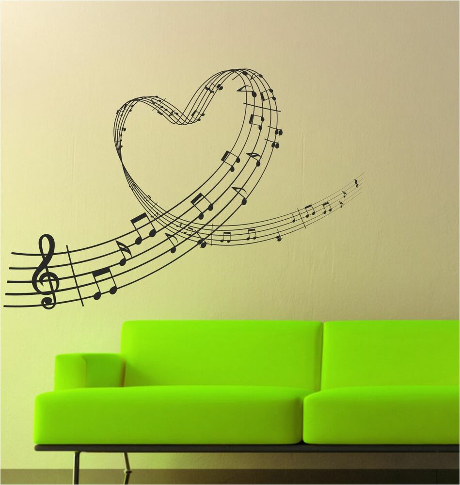 music love heart notes wall art sticker decal graphic lv42 ebay. Black Bedroom Furniture Sets. Home Design Ideas