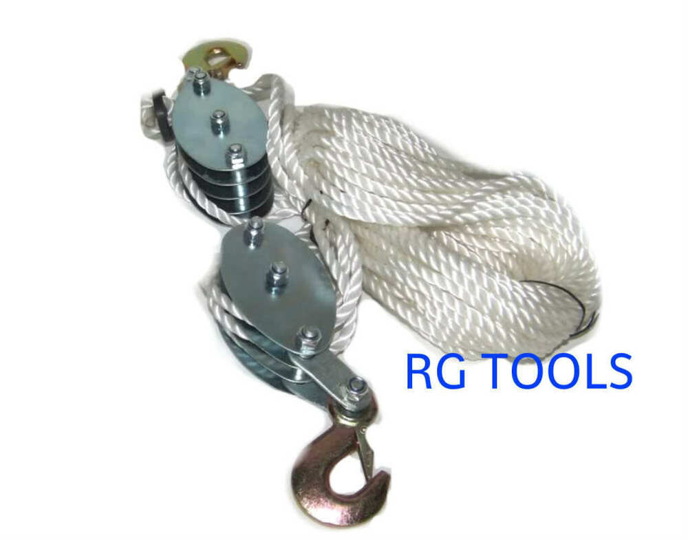 Rope hoist pulley block tackle : Ton poly rope hoist pulley wheel block and tackle
