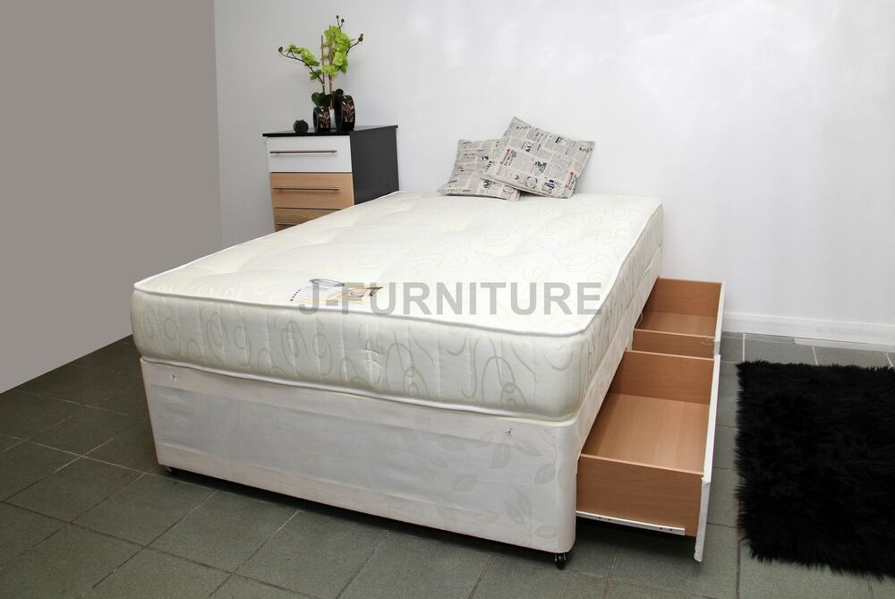 Double divan bed with mattress and free deep for Double divan bed with four drawers