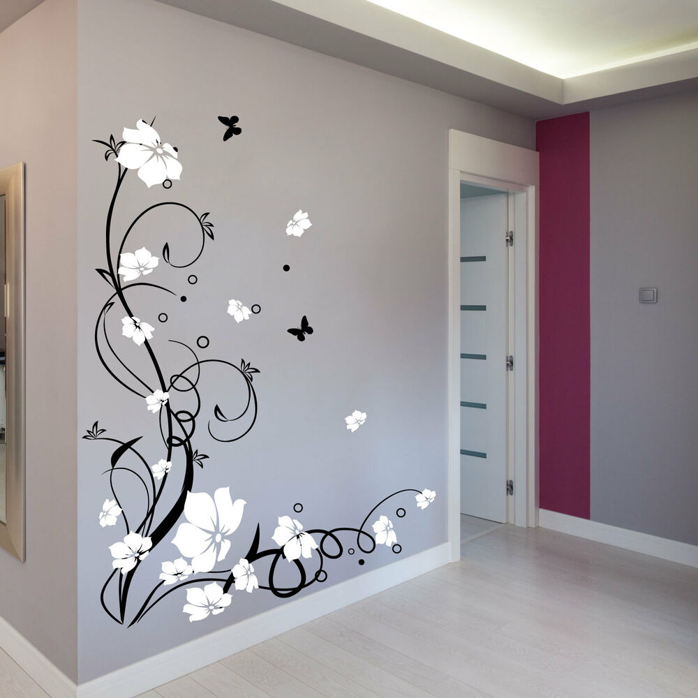 Large flower butterfly vine wall stickers wall decals - Decorar paredes facil ...