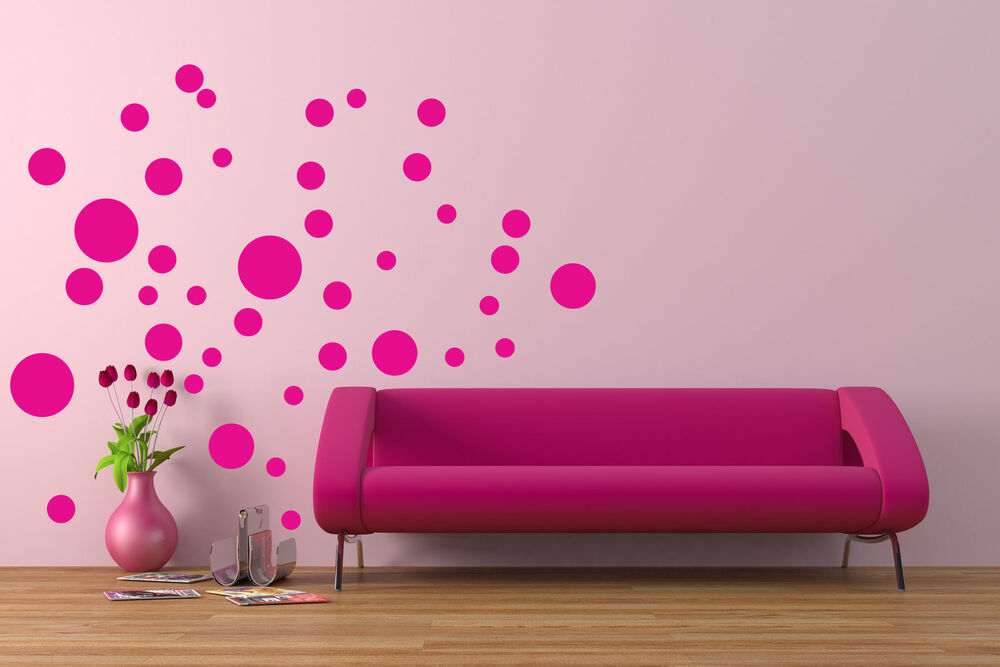 40 polka dots kids wall art vinyl decal removable boy girl bedroom ebay. Black Bedroom Furniture Sets. Home Design Ideas