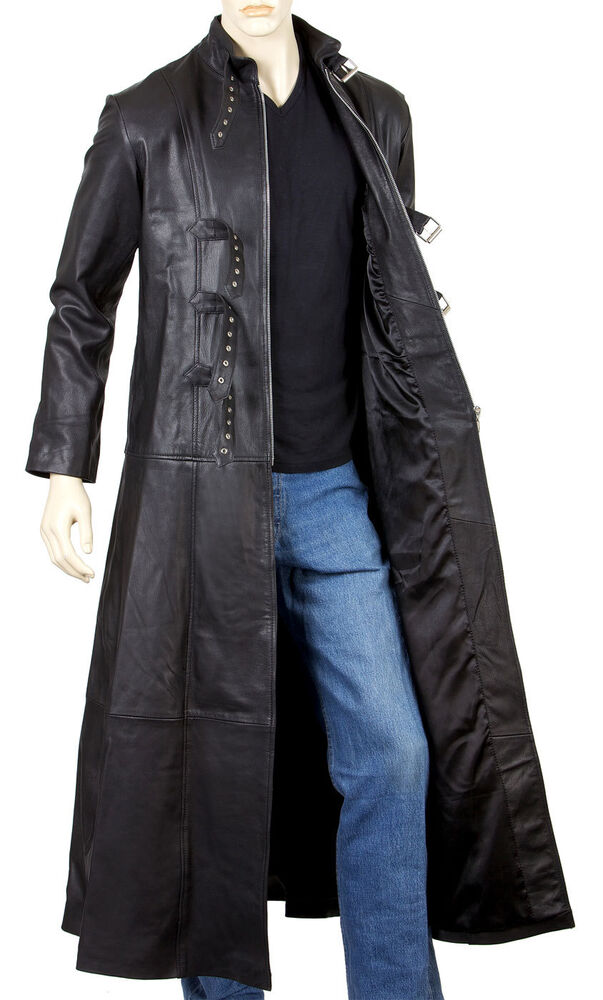 Mens Leather Goth Full Length Coat with Three Buckles and ...
