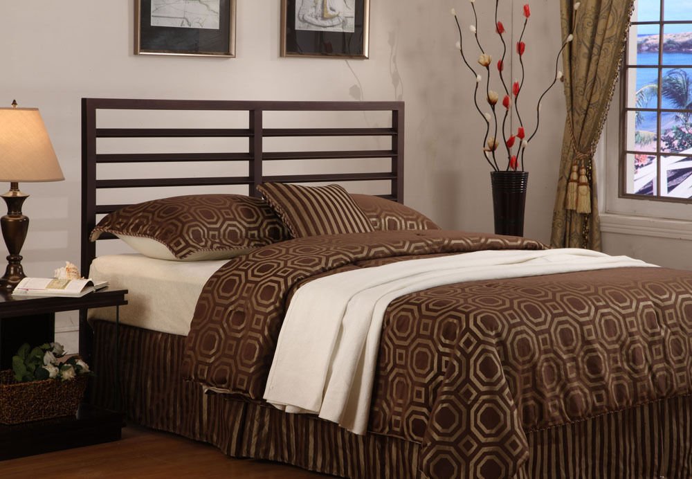 bronze metal adjustable full queen size headboard new ebay. Black Bedroom Furniture Sets. Home Design Ideas