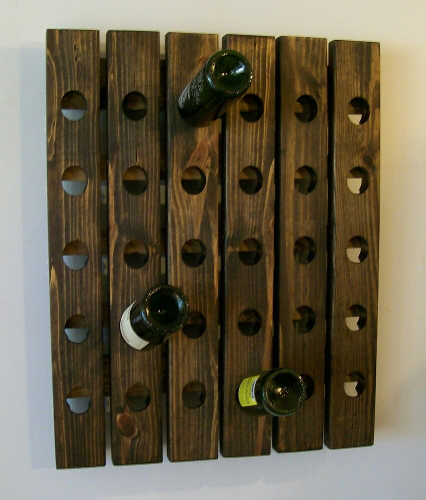 Handmade riddling wine rack wood wall hanging ebay Hanging wooden wine rack