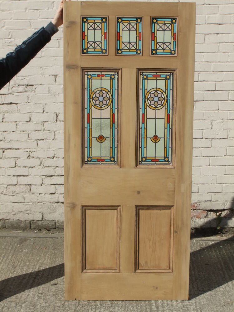 Victorian Edwardain Original Reclaimed Stained Glass Exterior Door The Star Ebay