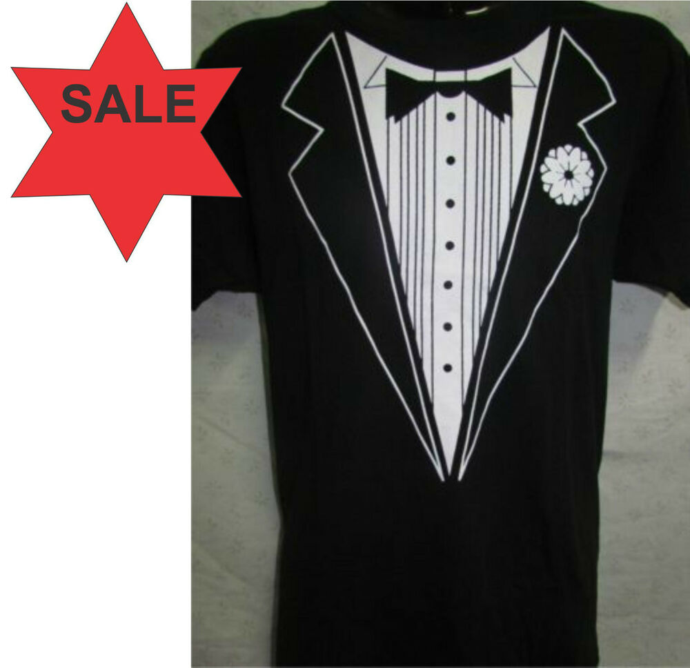 black white tuxedo t shirt mens unisex s m l xl. Black Bedroom Furniture Sets. Home Design Ideas
