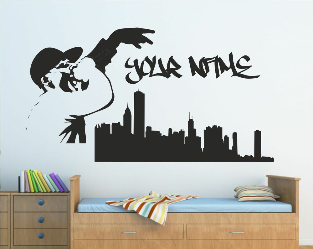 Personalised graffiti skyline music singer wall art sticker decal graphic tr12 ebay - Wall arts images ...