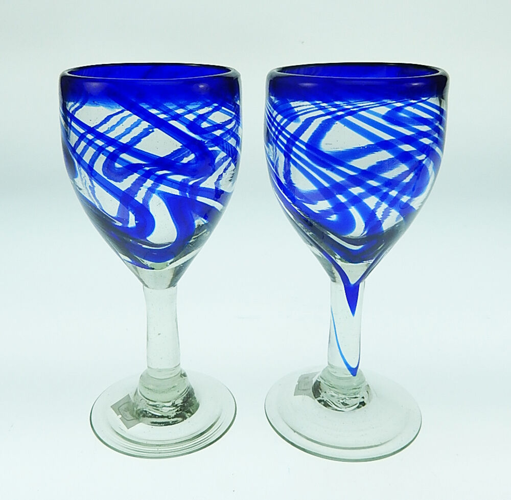 Wine Glasses Mexican Glass Blue Swirl Hand Blown 12 Oz