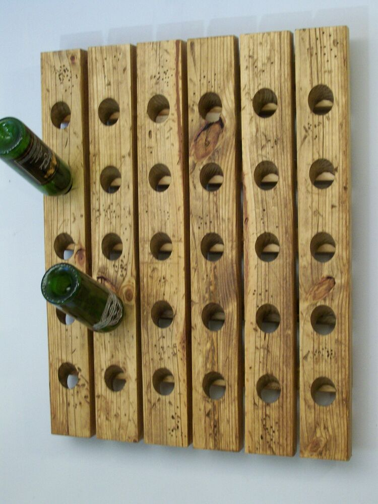 Large riddling wine rack distressed wood handmade wall Hanging wooden wine rack