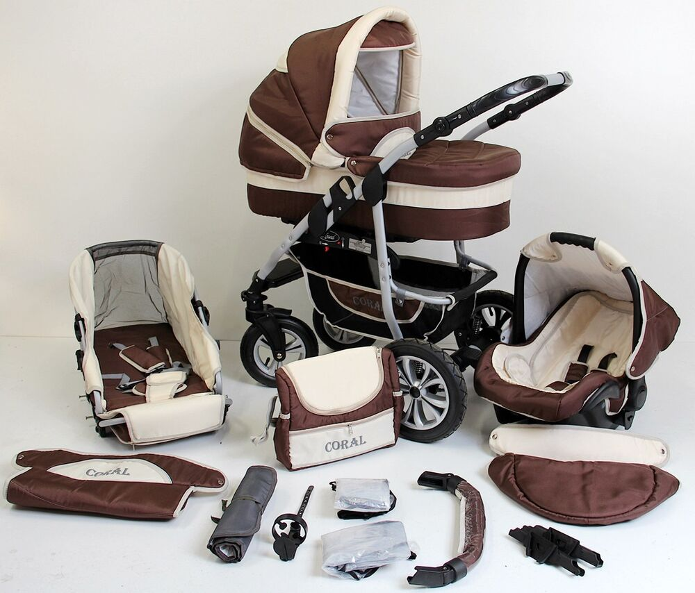 coral kombikinderwagen kinderwagen 3in1 m babyschale v 0 13 kg luftreifen neu ebay. Black Bedroom Furniture Sets. Home Design Ideas